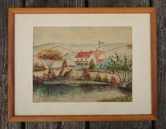 Vintage-Original-Watercolor-Painting-Barn-Farm-Landscape-Framed-1930s
