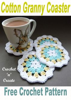 Crochet Cotton Granny Coaster - Pretty three color granny stitch coaster, made in a light worsted cotton yarn, crochet several and use for a gift set. Get the free crochet pattern in USA and UK formats below. Crochet Doily Patterns, Crochet Squares, Crochet Doilies, Crochet Stitches, Crochet Granny, Dishcloth Crochet, Crochet Afghans, Crochet Blankets, Granny Squares