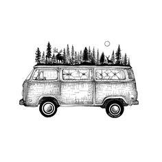 Road trip trip travel Travel backpacker van combi vanlife vagabond adventurer traveler globetrotting adventure trip around the world explore explorer freedom backpackers escape Ink Illustrations, Art Drawings Sketches, Van Drawing, Draw On Photos, Ink Art, Van Life, Art Inspo, Backpacker, Doodles