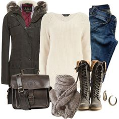 Dorothy Perkins sweater, Barbour coat, and Citizens of Humanity jeans.