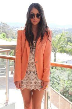 lace shift dress and mango blazer.