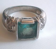 Faux Blue Topaz Ring Silver Plated Size 6