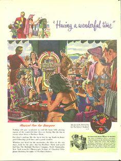 Wurlitzer Jukebox ad 1947 at the beachside café
