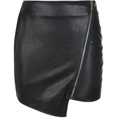 Parisian Black Leather-Look Asymmetric Zip Front Skirt (42 SGD) ❤ liked on Polyvore featuring skirts, mini skirts, faux leather skirt, vegan leather mini skirt, imitation leather skirt, zipper skirt and mini skirt