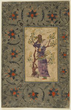 Youth holding his turban   circa 1630-1640, Safavid period   Opaque watercolor and gold on paper; H: 37.9 W: 24.4 cm; Isfahan, Iran