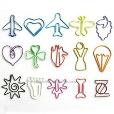 Shaped Paper Clips - Really cute.  Being #Neat and #Organized can save both time, space, and monetary resources. Cutting back on waste in all forms, can cute paper clips encourage sustainability processes? I like to think so.