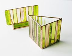 NEW Stained Glass Pencil Holder Lime Green Peach by GaleazGlass