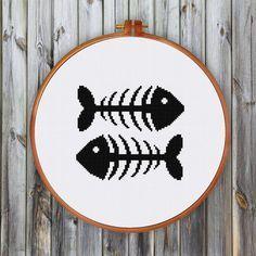 Fish Bone cross stitch pattern modern minimalist silhouette bird pattern