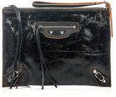 Balenciaga-balenciaga a4 paper cracked leather clutch
