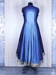 Solid Blue Silk Designer Anarkali Suit
