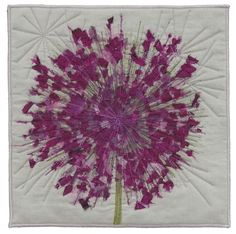 Techniques include: pen-based stalk & flower stems, free form random scatter of magenta silk and organza flower petals, free motion radial stitching. Organza Flowers, Flower Petals, Auction Donations, Purple Quilts, Flower Quilts, Fair Isle Pattern, Quilting Designs, Art Quilting, Applique Quilts