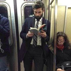 For the Ladies of the Fellowship, (and the dudes that appreciate hot dudes), for Valentine's Day, I give you, 'Hot Dudes Reading Books on Trains'. You know what they say about thick books. Guys Read, How To Read People, Hipsters, People Reading, Book Instagram, Lectures, Bored Panda, Attractive Men, Bearded Men