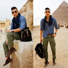 Leo Chan - J. Crew Factory Slim Chambray Shirt, Gap Cargo Pants, Uniqlo Scarf, Daniel Wellington Watch, Clarks Desert Boots, Chanmanshop Bracelet By, Urban Outfitters All Son Backpack - Pyramids