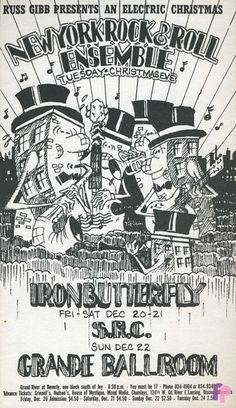 New York Rock & Roll Ensemble, Iron Butterfly at Grande Ballroom 12/20-22 & 24/68 by Carl Lundgren