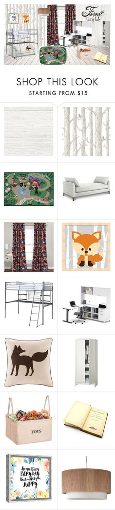 """Forest Fairy Tale"" by juliya-tver on Polyvore featuring interior, interiors, interior design, дом, home decor, interior decorating, Wall Pops!, Fun Rugs, Bestar и Madison Park"