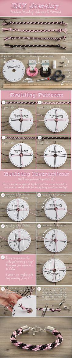 DIY Kumihimo Braiding Techniques for Bracelet | DIY kumihimo armband | www.bykaro.nl voor kralen, bedels en meer...