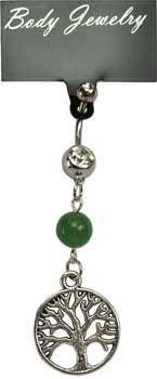 Green Aventurine Tree of Life belly ring