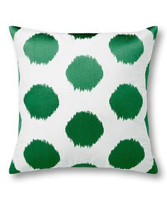Love this Emerald Ikat Polka Dot Twill Embroidered Pillowcase by C. Wonder on #zulily! #zulilyfinds