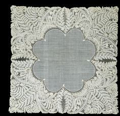 Handkerchief made of bobbin lace designed by Lady PaulinaTrevelyan,  and worked by Miss S. Sanson; Honiton, England c.1864