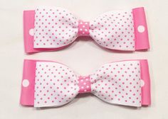 Pink And White Polka Dot Bows by LittleAsAccessories on Etsy