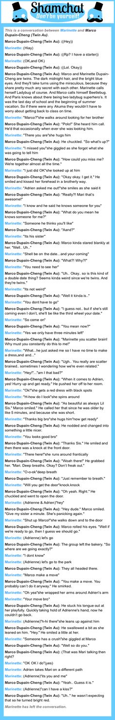 A conversation between Marco Dupain-Cheng (Twin Au) and Marinette