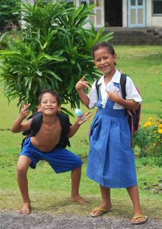 Local kids walking home from school (& posing for my pictures!) - Savaii, Samoa