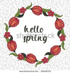 Spring postcard, cover, bright background for inscriptions. Hello Spring. Cute pattern in green, red and white tones   #bubushonok #art #bubushonokart #design #vector #shutterstock  #pattern #card #holidays #doodle #holiday #banner