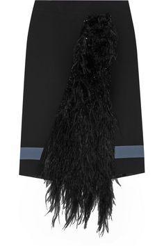 Emanuel Ungaro|Feather-paneled crepe skirt|NET-A-PORTER.COM