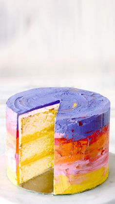 Decorated with watercolor-inspired frosting, this lemon curd-filled cake is beyond beautiful.