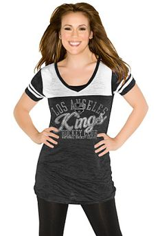 Los Angeles Kings Women's The Coop V-Neck T-Shirt 'Touch' by Alyssa Milano