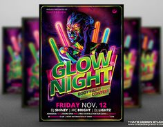 """Check out new work on my @Behance portfolio: """"Glow Night Flyer Template"""" http://be.net/gallery/35470297/Glow-Night-Flyer-Template"""