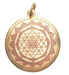 """Shri Yantra Charm Pendant for Good Luck Representing the Jewel in the Lotus, the mystical symbol of all creativity, this amulet is worn for Protection and Good Luck. Approximate size: 1"""" in diameter."""