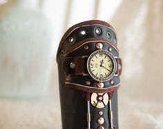 Leather steampunk wrist watch