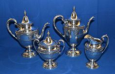 WALLACE ROSEPOINT STERLING COFFEE AND TEA SERVICE 4 PIECES