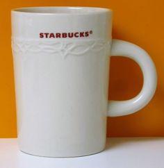 Starbucks 2010 Ceramic Coffee Cup Mug Embossed Design 10 oz Cream White