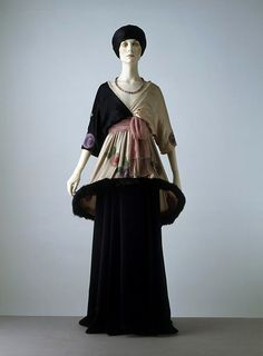 Evening dress, Paul Poiret (1912). Silk chiffon and satin, embroidered with glass beads, trimmed with fur.