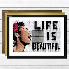 Life is Beautiful Graffiti by Banksy Framed Graphic Art