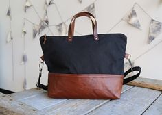 Crossbody Zipper Tote Waxed Canvas and Leather by StitchandRivet