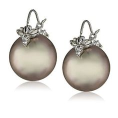 Gabrielle Sanchez White Gold, Gray Tahitian Cultured Pearl, and Diamond Flyer Earrings Pearl Earrings, Drop Earrings, Cultured Pearls, Christmas Bulbs, White Gold, Gray, Diamond, Amazon, Gifts