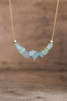 Raw Aquamarine Necklace on Silver or Gold Raw by AbizaJewelry