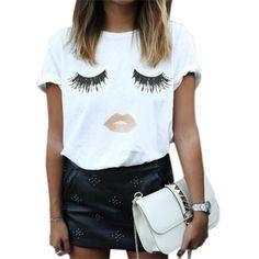 Zanzea New Arrival 2017 Summer Style Women Elegant Lashes Lip Print T Shirt Casual Loose Simple White Top Tees