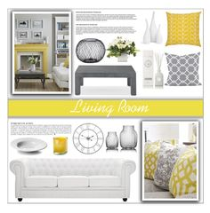 """Gray and Yellow"" by moosegodstiel ❤ liked on Polyvore featuring interior, interiors, interior design, home, home decor, interior decorating, Williams-Sonoma, Modway, Anja and Orla Kiely"