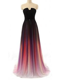 A-line Straight Across Floor-Length Chiffon Ombre Prom Dresses, Long Evening Gowns, Party Dresses Ombre Prom Dresses, Grad Dresses, Homecoming Dresses, Dress Prom, Prom Gowns, Dress Long, Chiffon Dress, Party Dress, Bridesmaid Dresses