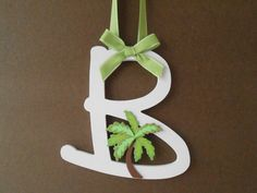 Palm Tree Painted Wooden Letter  Initial  Hand by LaurenAnnaLei, $16.50