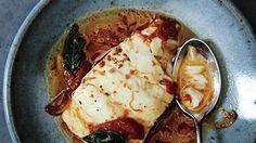 Poached Cod with Tomato and Saffron Recipe   Bon Appetit