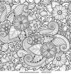 Ornamental seamless ethnic black and white pattern. Floral background can be used for wallpaper, pattern fills, textile, fabric, wrapping, surface textures, coloring book for adults and kids.