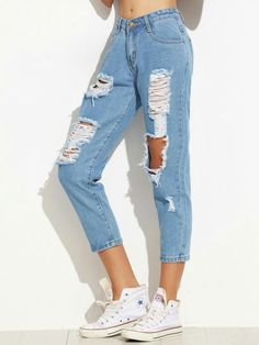 Hundreds of new looks updated every day! Cute Ripped Jeans, Ripped Jeans Outfit, Skinny Ankle Jeans, Cute Casual Outfits, Pretty Outfits, Teen Fashion Outfits, Girl Outfits, Jugend Mode Outfits, Mode Chanel