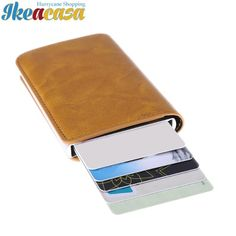 Metal Men Card Holder RFID Stainless Steel Credit Card Holder PU Leather Wallet Antitheft Men Mini Wallet High Quality Holder Ikeacasa I-Clip