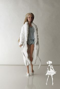Dressing gown, Pajamas from top and pants, fluffy slippers