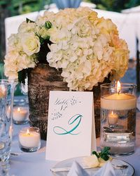 Table numbers for a wedding featured by Martha Stewart